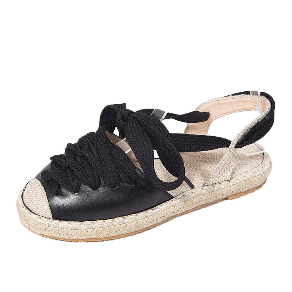 f48c47e8ee HB@Womens Flat Lace-Up Espadrilles Summer Chunky Holiday Sandals ...