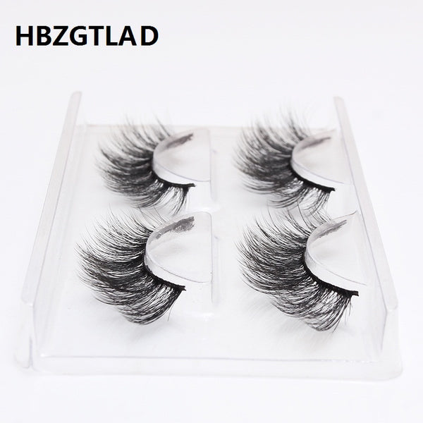 HBZGTLAD 2 pairs natural false eyelashes fake lashes long makeup 3d mink lashes eyelash extension