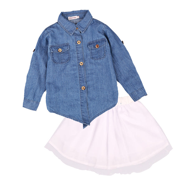 HE Hello Enjoy Mother And Daughter Clothes Autumn Baby Girls Long Sleeve Denim Shirts+Skirt Sets Family Matching Outfits Women