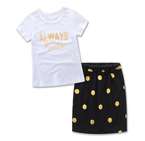 HE Hello Enjoy Mother Daughter Matching Clothes Sets Kids 2018 Short Sleeves Dot T-shirt+Skirts Family Look Clothing Outfits