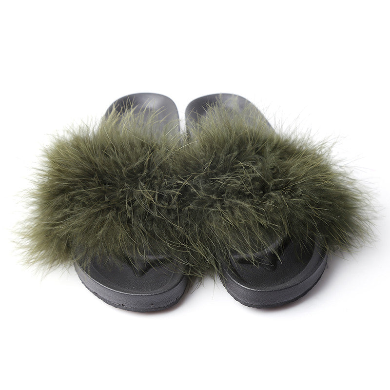 75034af8f51 HENGSONG Fur Furry Slide Sweet Feather Thick Bottom Beach Female ...