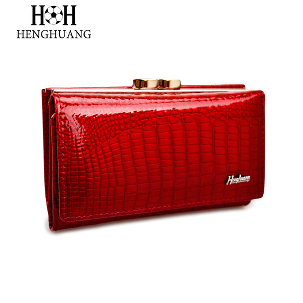 HH Women Wallet Genuine Leather High Quality Hasp Coin Purse 100% Cowhide  Fashion Female Clutch Purses Card Holder Wallets