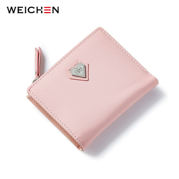 HOT WEICHEN Heart Designer Thin Women Wallets High Quality Leather Ladies Small Card Holder Coin Purses Black Card Wallet Female