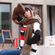 Hat and Scarf Set Women Winter Scarf Lovely Warm Women Glove Pocket Earflap Hat Long Scarf Set Shawl Snood Wraps 4 solid colors