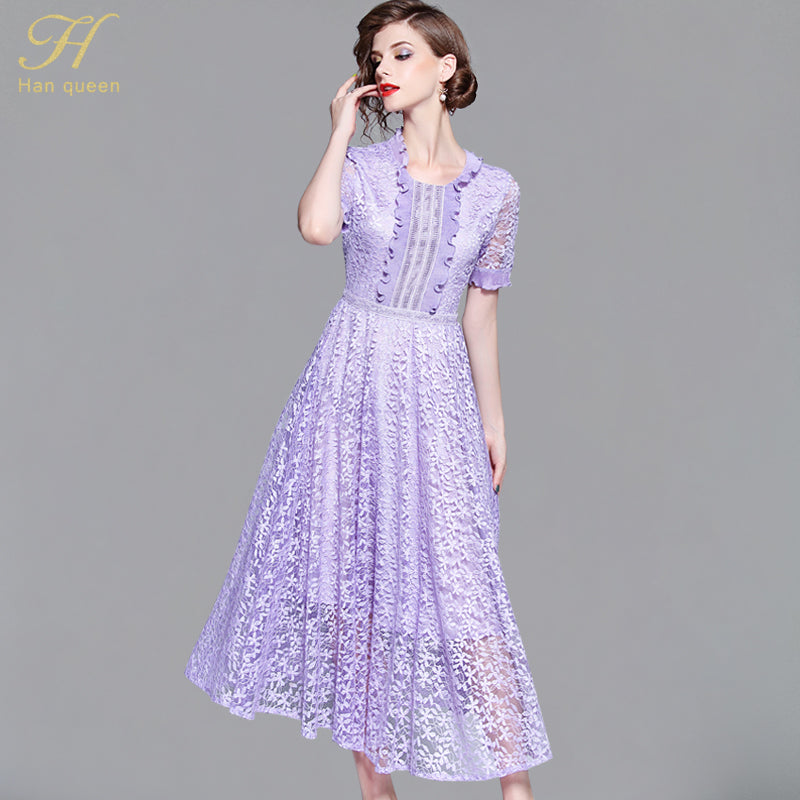 f76d1dfa1960e Hhan queen Summer Mesh Patchwork Lace Dress Ruffles Women O-neck Work  Casual Party Slim Sexy Dresses Vintage Purple Vestidos – Beal | Daily Deals  For Moms