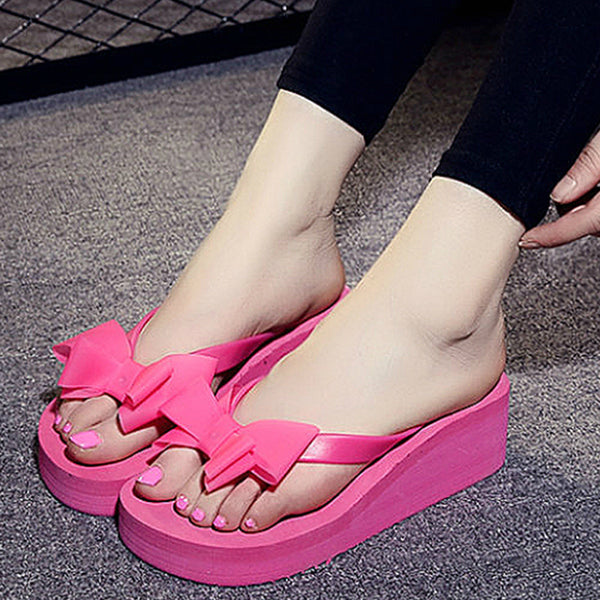 High Heels Women Flip Flops Summer Sandals Platform Wedges Slippers EVA Bow Fashion Beach Shoes