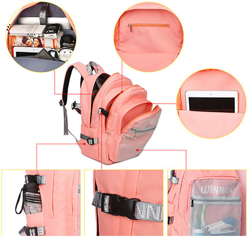075ce6071b73 High Quality College Students Pink Women Backpacks Teens Girls Designer  Outside Mesh Bag Waterproof
