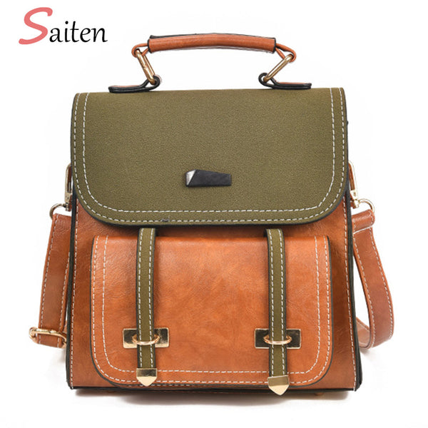26a021a62e6 High Quality Retro PU Leather Backpack Female Fashion Solid School Bag For  Teenage Girls Famous
