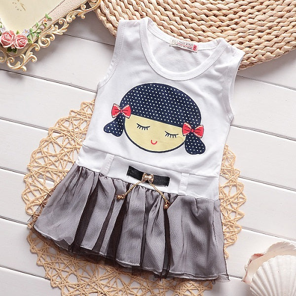 High quality Summer 2018 baby girls cotton dress cute cartoon bowknot soft girl ball gown fit age 0-3 years FE080