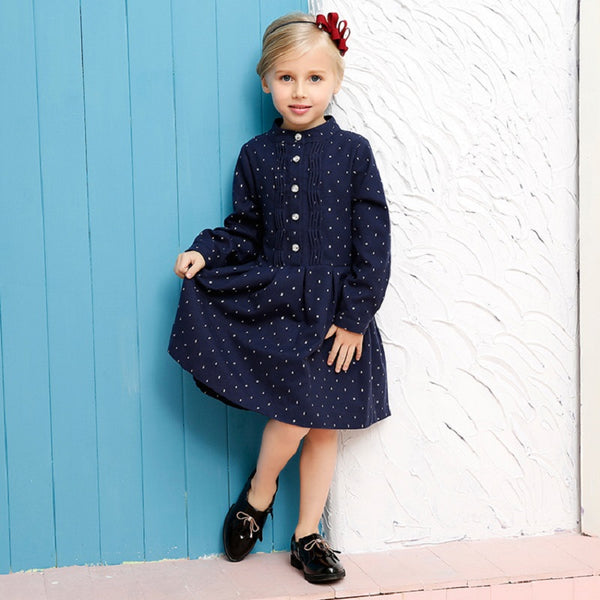 High quality autumn big girls full sleeve princess dresses england style polka dot navy blue cotton kids casual clothes FE054