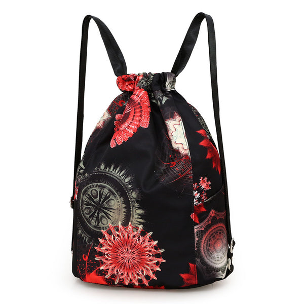 High quality nylon waterproof Drawstring Backpacks Women floral printing soft string shoulder pack