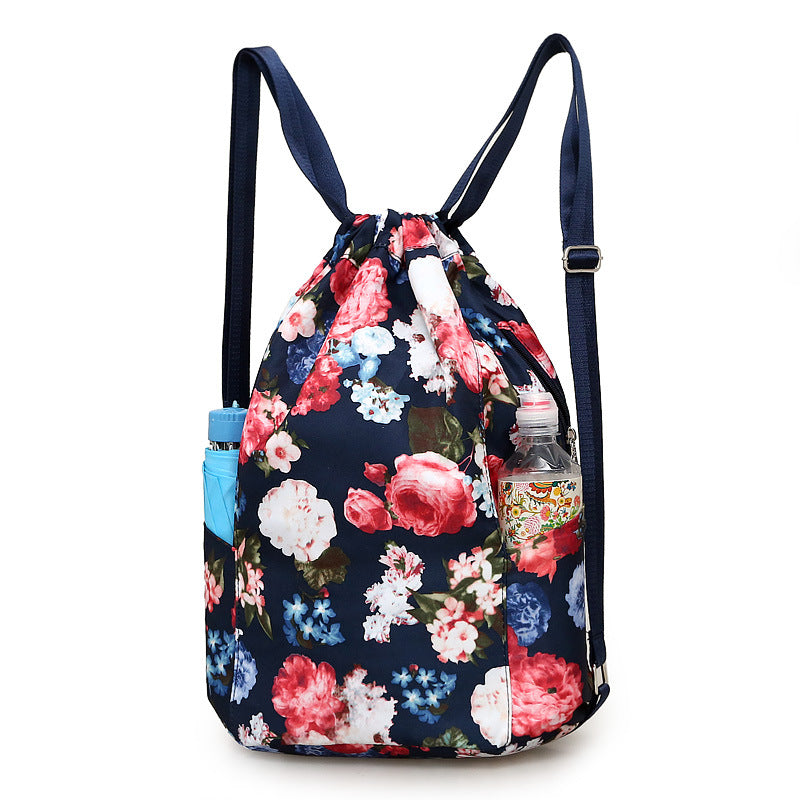 95ae686c3c0c High quality nylon waterproof Drawstring Backpacks Women floral printing  soft string shoulder pack shoes bag Beach Bags large – Beal