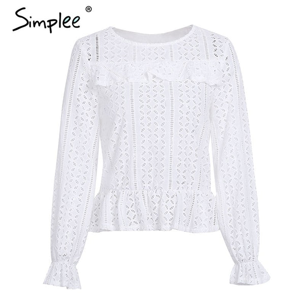 Hollow out long sleeve white blouse shirt 2018 Spring sexy female blouse women top Elegant