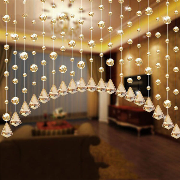 Home Decoratio 1 Luxury Glass Beads Door String Tassel Curtain Wedding Divider Panel Room Decor