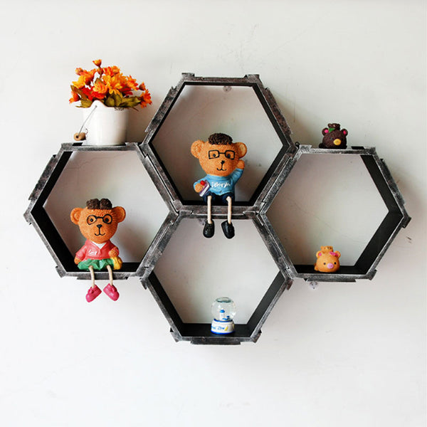 Home Diy Decorative Wall Floating Honeycomb Shelves Hexagonal Lattice Cube Storage Box For Living