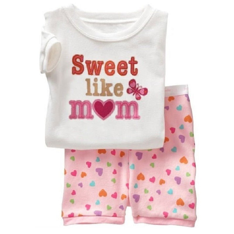 510441f13 Hooyi Summer Baby Girls Clothes Suits Cotton Children Sleepwear Sets Pink  White Girl's T-Shirts Shorts Pants Pajamas 2pcs Sets – Beal | Daily  Deals For ...