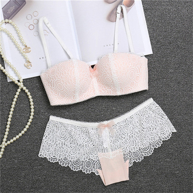 2fc1c703d Hot Sale Europe Women Underwear 1 2 Cup Sexy Lace Bra Panty Set Sexy ...