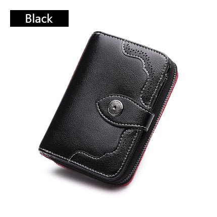 Hot Sale Hollow Out Wallet Short Wallet Leather Vintage Women's Purse Zipper&Button Purse Red Small Wallet Coin Pocket Cartera
