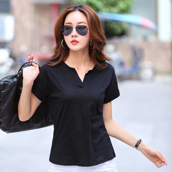 Hot Sale T Shirt Women 2017 Summer Unique Bamboo Fiber Short Sleeve T-shirt Female Tshirt Solid V-Neck Tops Tee Shirt Femme CS88