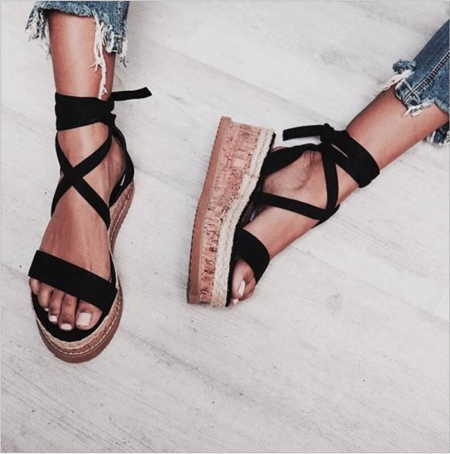 ffa3eff3565 IMKKG Summer White Wedge Espadrilles Women Sandals Open Toe Gladiator  Sandals Women Casual Lace Up