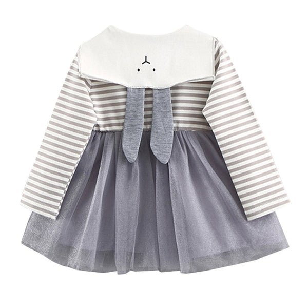 ISHOWTIENDA cinderella dress 0-3 Years Old Autumn Baby Kids Toddler Girl Stripe Mesh Cute Rabbit Mini Dress