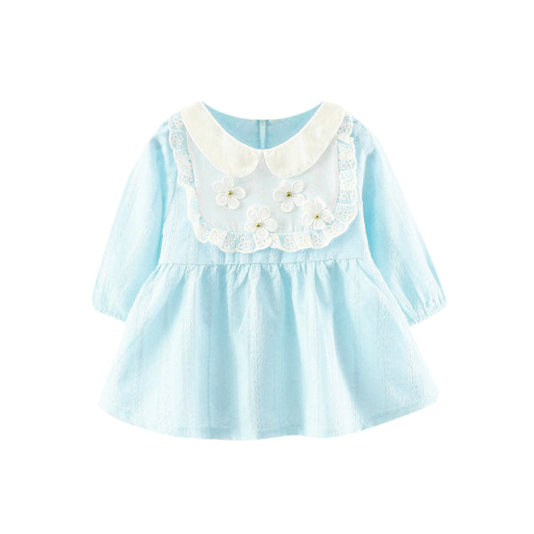 ISHOWTIENDA girls dress Long Sleeve Cute Toddler Baby Girl Cotton Floral Lace Long Sleeve Princess Dress