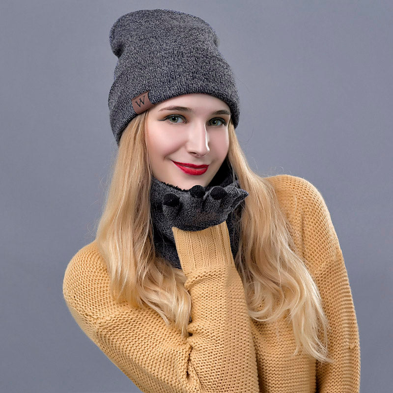 19bff80125ae8a IWINTER Winter Hats For Women Winter Scarf Warm Hat Scarf Gloves Set F –  Beal | Daily Deals For Moms