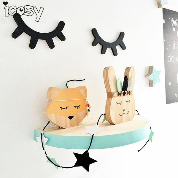 Icosy 3D Wood Eyelash Wall Decor Eye lash Wall Stick Children Kids Baby Room Background Wall Sticker Home Decor Drop Shipping