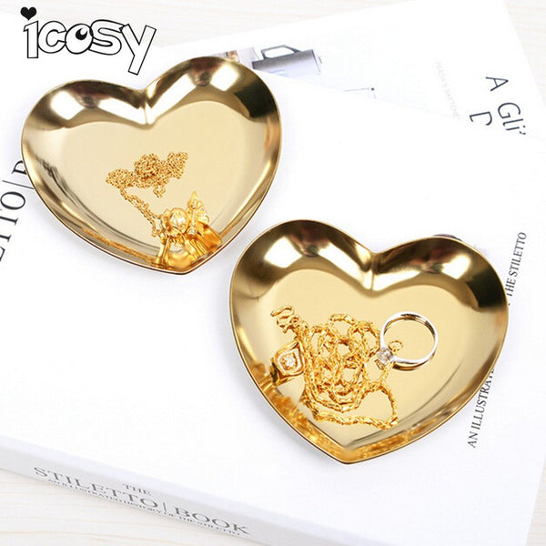 Icosy Heart Shape Small Empty Home Storage Desk Stainless Steel Metal Storage Box Case Organizer