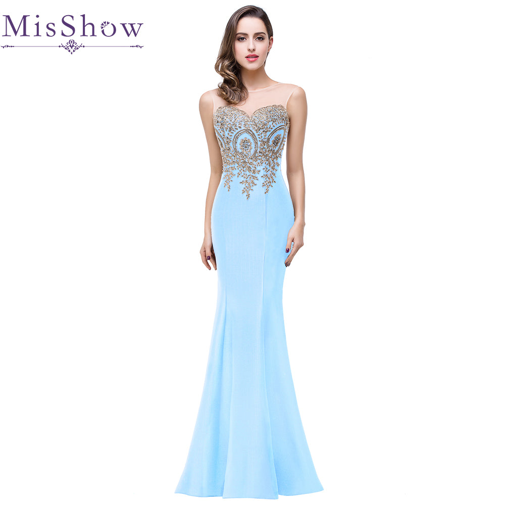 eabf25d724 Misshow Gold Lace Appliques Rhinestone Long Formal Evening Party Dresses
