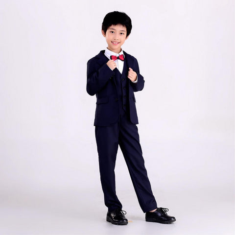 In Stock 2019 New Top Sale Dark Blue 5pcs Boy Suits Boy Clothing Formal Suits Children Clothing