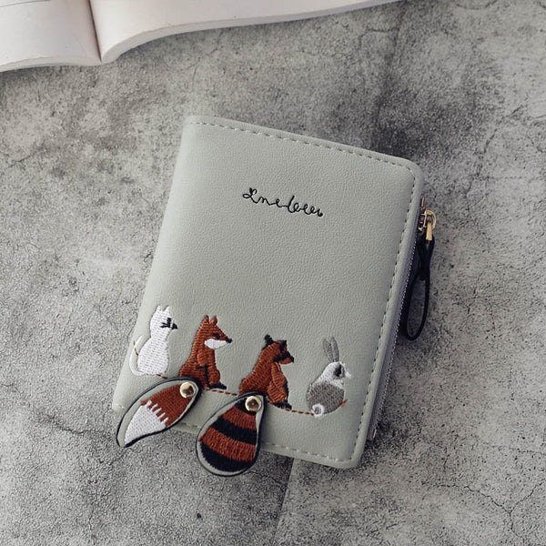 Individuality PU Leather Hasp Zipper Mini Coin Card Holder Women Cute Cartoon Embroidery Wallet Short Purse Popular
