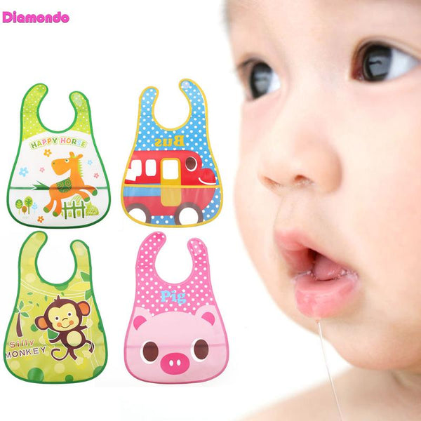 Infant Baby Cartoon Lunch Feeding Bandanas Infant Saliva Towel Bibs Burp Cloth Stereoscopic Pinafore EVA Waterproof Overclothes