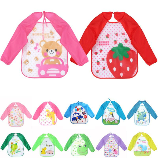 Infant Baby EVA Bibs Burp Cloths Waterproof Long Sleeve Coverall Baby Animals Toddler Scarf Feeding Smock Baby Feeding Accessory