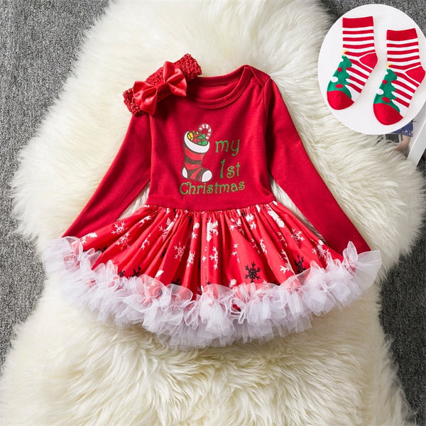 Infant Baby Girls My 1st Christmas Dresses Toddler Girl Happy New Year Dress Red Santa Print