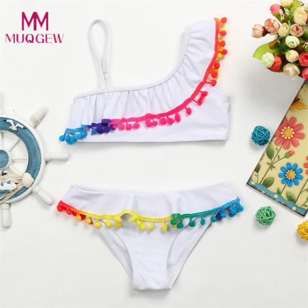 Infant Kid Girls Tassel Solid Swimwear Swimsuit Bikini Set Outfits 2018 New Summer Swimwear Girl