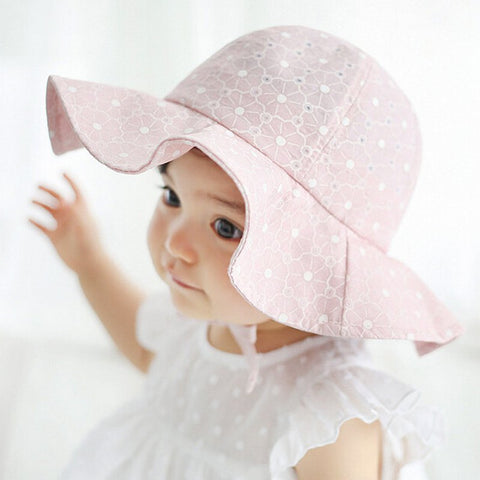 Infant Summer Outdoor Baby Girl Visor Cotton Sun Cap Baby Hat Floral Prints Beach Bucket Hats