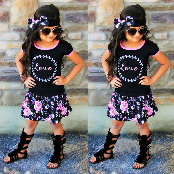Infantil Toddler Kids Baby Girls Casual Tops T shirts Flower Skirts Tutu Dress 3Pcs Set Party