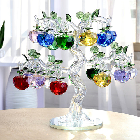 JQJ Chirstmas Tree Hanging Ornaments 50mm Crystal Glass Apple miniature Figurine Natale Home Decorations Figurines Crafts gifts