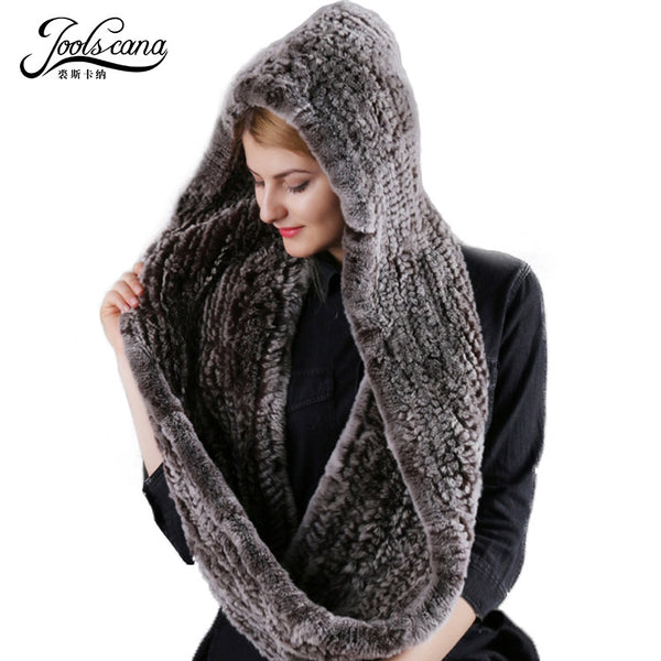Joolscana Real fur hat and scarf Winter hats for women scarf natural rabbit fur wide scarf and hat two in one2017 new brand