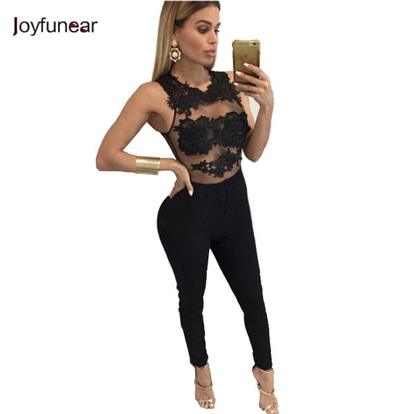 edfa0c9d9 Joyfunear Summer Jumpsuit Women Lace Embroidery Back Zipper Bodysuits  Hollow Out Stitching Sexy Romper White Black