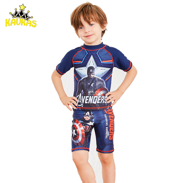df34bb20c6 KAVKAS Kids Boys Swimsuit 2 Pieces With Cap Captain America Printed  Children Boys Swimwear Beach