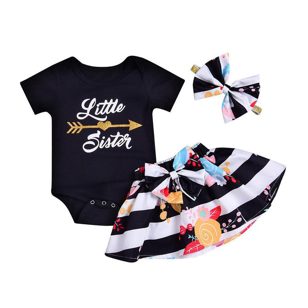 KIDLOVE 2018 3PCS Baby Girl Summer Big Sister And Little Sister Clothes Set Letter Printing Tops+Stripe Dress+Bowknot Head