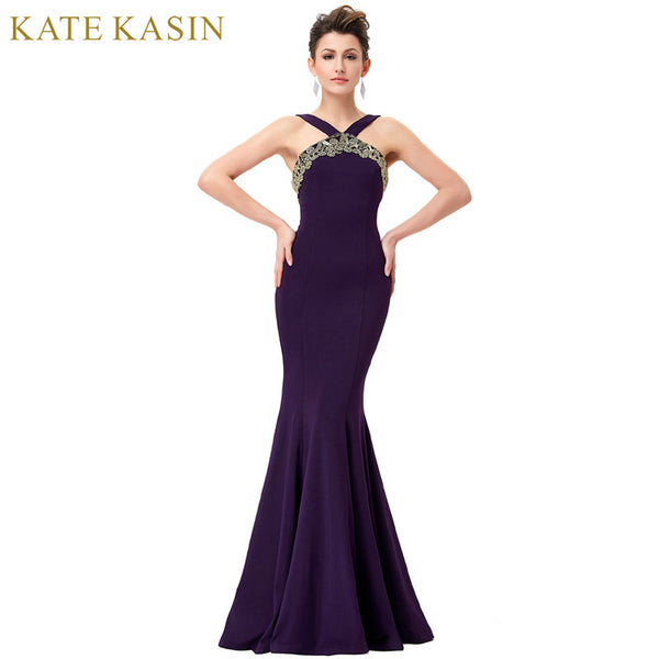Kate Kasin Purple Evening Dresses Long Elegant Women Bandage Backless Formal Dress Mermaid Evening