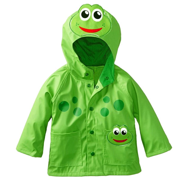 Kids Boy Girl Cartoon Rain-proof Printed Cartoon Frog Ladybug Coat Baby Raincoat Kids Rainwear Green Red 2-6Y