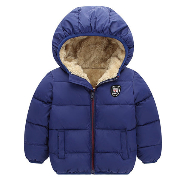 Kids Boys Girls Hooded Jackets Winter Warm Thick Coat Kids Clothes Zip Pockets Outwear Winter Long Sleeve Coats Candy Color 2-7T