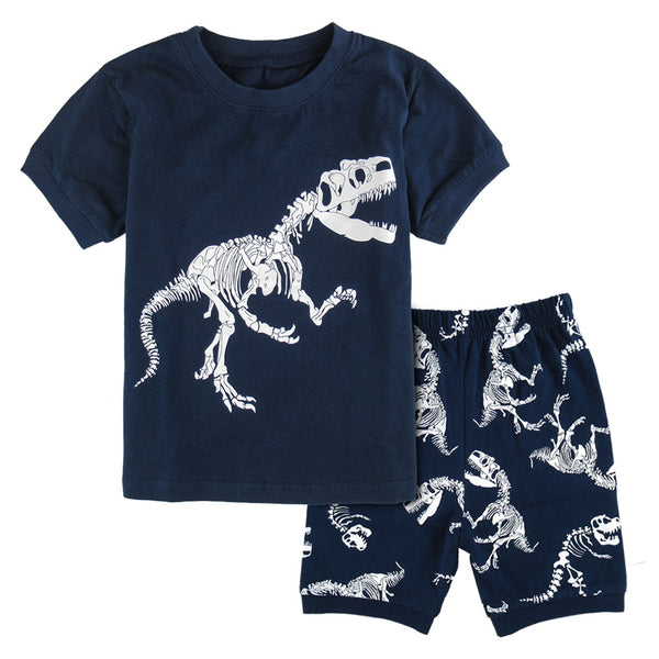 Kids Boys Pajamas Children Dinosaur Sleepwear Cartoon Shor Sleeve Home Clothing Suit Child Spring
