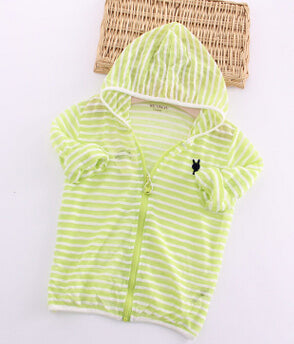 Kids Clothes Boys Girls Hooded Jacket Sun Protective Clothing Children Stripe Embroidery Thin Shirt Zipper Coat Summer Outerwear