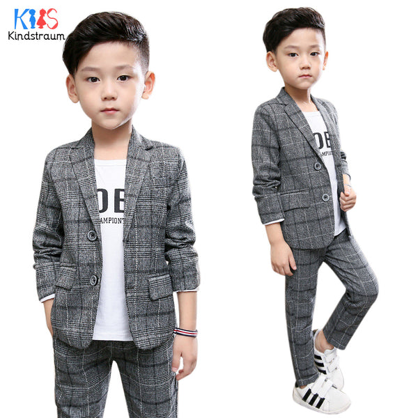 080661d6e Kindstraum 2pcs Boys Gentleman Formal Suits Striped Fashion Blazer+Pant Kids  Wedding Suits