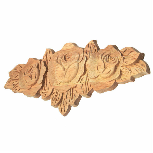 Kiwarm 23*9cm Wooden Rose Flower Carved Long Onlay Applique Furniture Wall Unpainted Door For Home Cabinet Decoration Crafts